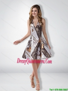 Unique A Line Halter Camo Dama Dresses with Ruching