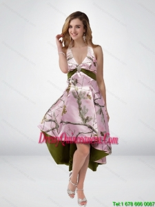 2015 Beautiful Multi Color High Low Camo Dama Dresses with Sashes
