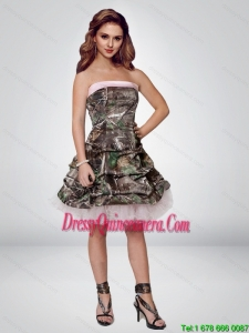 2015 Perfect Short Strapless Camo Dama Dresses with Ruching