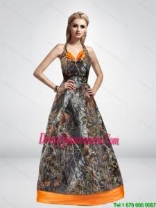 2015 Spring Elegant A Line Halter Top Camo Dama Dresses