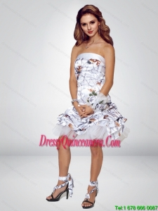 2015 Spring Short Strapless Knee-length Camo Dama Dresses