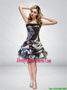 2015 Unique Short Knee Length Camo Dama Dresses with Strapless