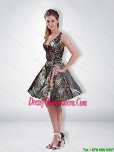 Affordable A Line V Neck Beading Camo Dama Dresses with Knee Length