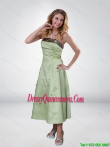 Apple Green Strapless Ankle Length Camo Dama Dresses