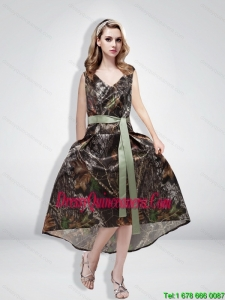 Beautiful Empire Camo Sashes Popular Dama Dresses with V Neck for 2015