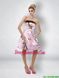 Comfortable Short Strapless Baby Pink Camo Dama Dresses