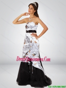 Dynamic Column Camo Dama Dresses with Hand Made Flower and Sashes