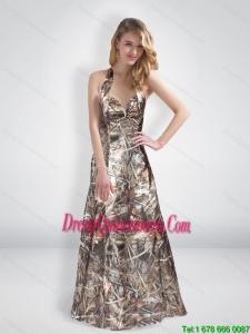 Elegant A Line Halter Top Multi Color Camo Dama Dresses with Brush Train