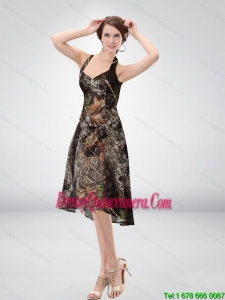 Exclusive Halter Top Tea Length Camo Dama Dresses in Multi Color