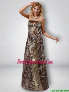 Exquisite Column Strapless Camo Dama Dresses with Sequins