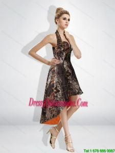 Fashionable High Low Halter Top Camo Dama Dresses in Multi Color