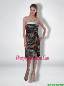 Flirting 2015 Column Strapless Tea Length Camo Dama Dresses