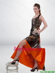 Luxurious Column Halter Top Camo Dama Dresses with High Slit