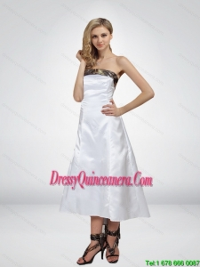 Luxurious High Low Strapless Camo Dama Dresses in White