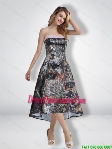 Modest Empire Strapless Popular Camo Dama Dresses with Ribbons for 2015