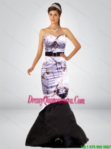 Sexy Mermaid Camo Dama Dresses with Hand Made Flower and Sashes