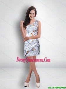 Short One Shoulder Ruched Classical Camo Dama Dresses in Multi Color