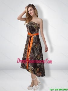Short Strapless Strapless High Low Camo Dama Dresses with Sash