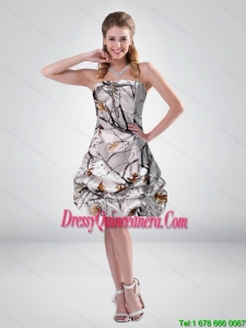 Popular 2015 Short Strapless Mini length Camo Dama Dresses with Ruching