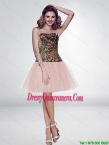 Popular Multi Color Short Strapless Pink Dama Dresses