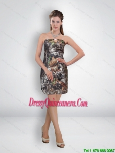 Popular Short Column Mini Length Camo Dama Dresses with Beading