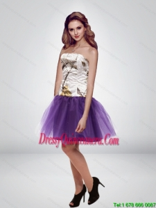 Popular Hot Mini Length Strapless Camo Dama Dresses in Multi Color