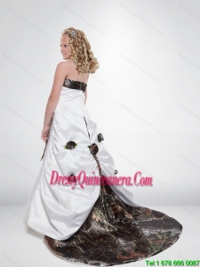 2015 Modest A Line Strapless Camo Little Girl Pageant Dreses