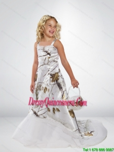 2015 Popular A Line Straps Camo Little Girl Pageant Dreses with Brush Train Beading