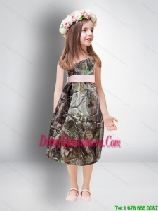 Cheap One Shoulder Tea Length Camo Little Girl Pageant Dreses