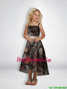Elegant A Line Straps Tea Length Camo Little Girl Pageant Dreses with Beading