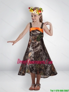 Elegant High Low Straps Camo Little Girl Pageant Dreses with Sashes