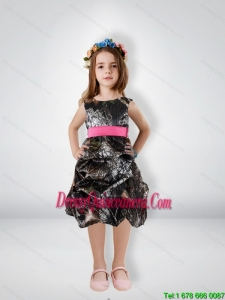 Fashionable Knee Length Camo Little Girl Pageant Dreses