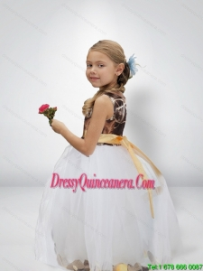 Lovely Ball Gown Camo Little Girl Pageant Dreses with Bowknot