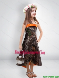 Perfect 2015 High Low One Shoulder Camo Little Girl Pageant Dreses