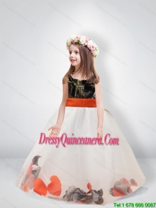 Pretty Ball Gown Scoop Belt Camo Little Girl Pageant Dreses