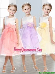 Beautiful Scoop Tulle Little Girl Pageant Dress with Hand Made Flowers and Ruffles