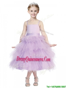 Beautiful Spaghetti Straps Lavender Little Girl Pageant Dress with Beading and Ruffled Layers
