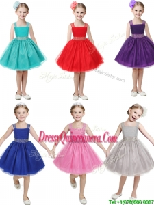 Gorgeous Straps Beading and Bowknot Little Girl Pageant Dress in Mini Length