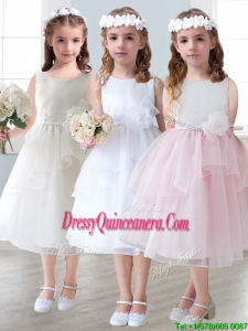 Lovely Scoop Hand Made Flowers and Ruffled Layers Little Girl Pageant Dress in Tea-length