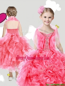 Lovely Spaghetti Straps Little Girl Pageant Dress with Beading and Rolling Flowers