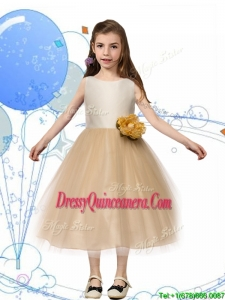 New Scoop Champagne Little Girl Pageant Dress with Hand Made Flowers and Bowknot