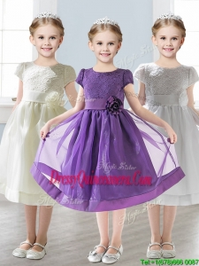 Wonderful Scoop Short Sleeves Little Girl Pageant Dress with Appliques and Lace