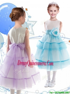 Discount Scoop Organza Little Girl Pageant Dress with Hand Made Flowers and Ruffled Layers