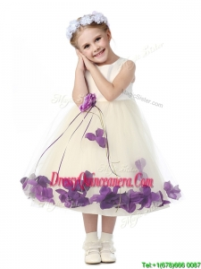 Gorgeous Scoop Little Girl Pageant Dress with Purple Hand Made Flowers and Appliques