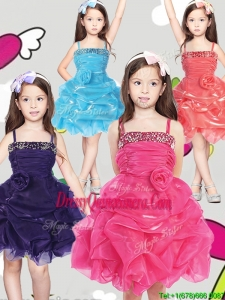 Latest Spaghetti Straps Little Girl Pageant Dress with Hand Made Flowers and Pick Ups