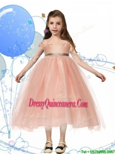 Perfect Square Cap Sleeves Sashes Little Girl Pageant Dress in Peach