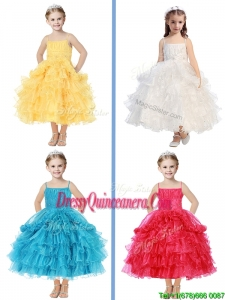 Romantic Spaghetti Straps Little Girl Pageant Dress with Beading and Ruffled Layers