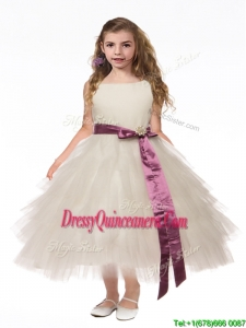 Lovely Scoop White Mini Quinceanera Dress with Bowknot and Ruffled Layers