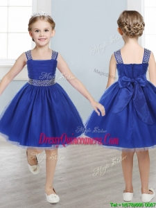 Perfect Straps Royal Blue Little Girl Pageant Dress with Beading and Bowknot