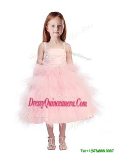 Discount Spaghetti Straps Beading and Ruffled Layers Little Girl Pageant Dress in Pink